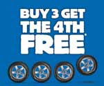 Buy 3 get the 4th FREE on selected tyres at beaurepaires tyres Promo code