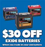 $30 off exide batteries – Car battery