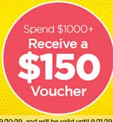 $25 gift voucher for $250+ spent, $60 gift voucher for $500+ spent, $150 gift voucher for $1000+ spent.